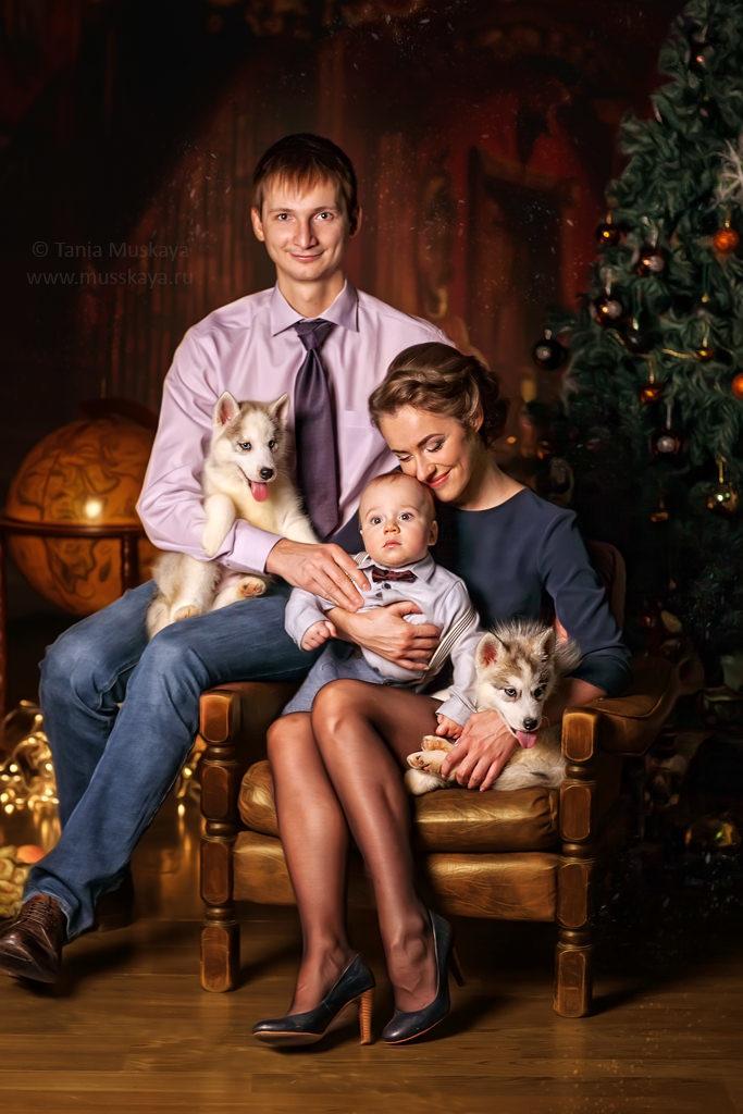семейная фотосессия с хаски
