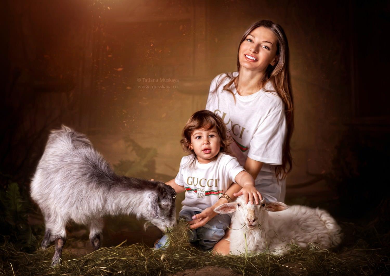 Фотосессия с козой, овечкой и кроликами