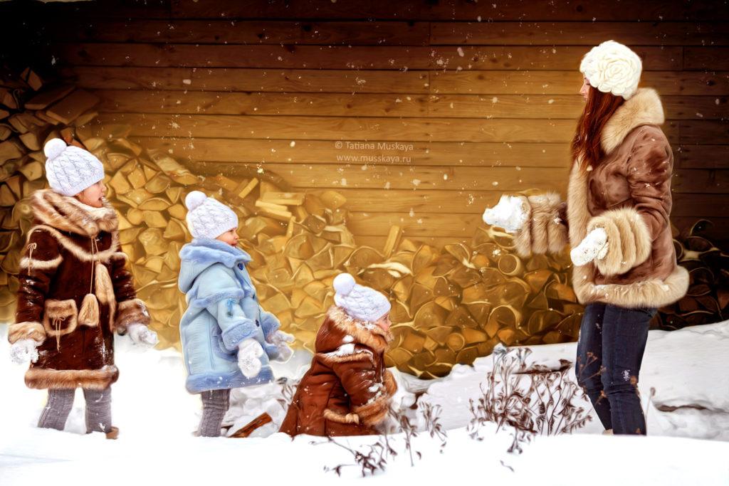 Фотосессия на улице с хаски зимой