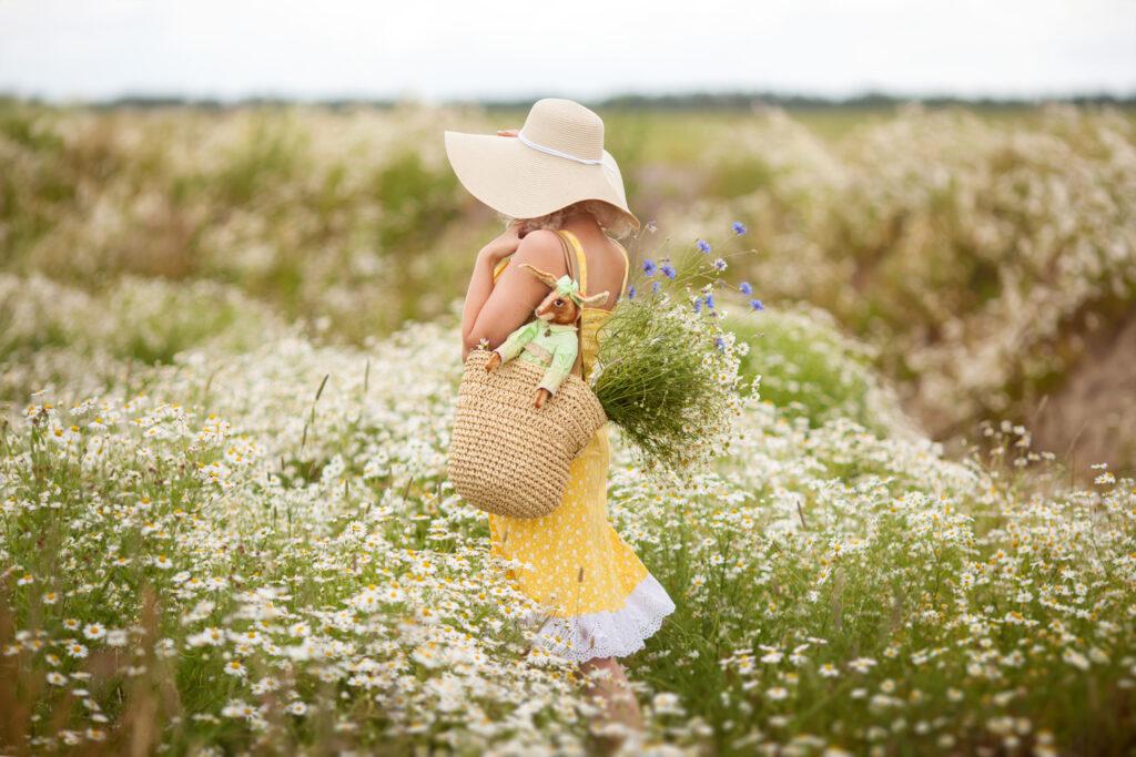 Фотосессия в ромашковом поле